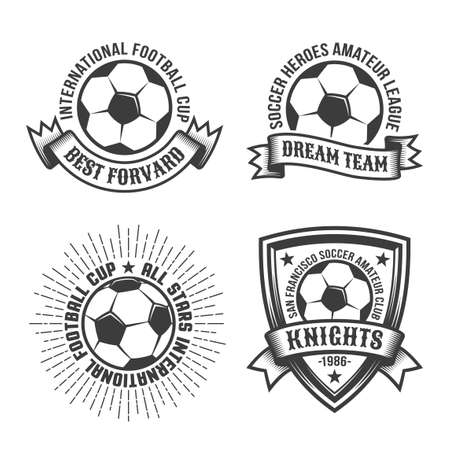 Football old school template with classic soccer ball and heraldic elements. Monochrome retro style. Illustration