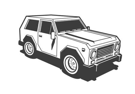 SUV car 3d black and white stamp illustration. Retro old school style. Vectores