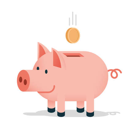 Pig piggy bank with a falling coin - colored cartoon isolated illustration Stock Vector - 103270658