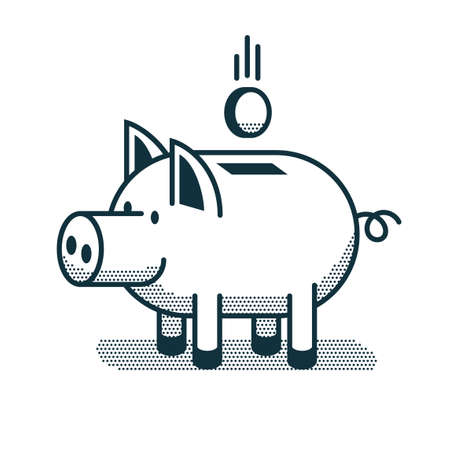 Funny piggy bank icon in linear style Illustration