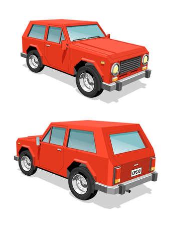 Vordere und hintere Ansicht des roten SUV-Autos - realistische Vektorillustration 3d