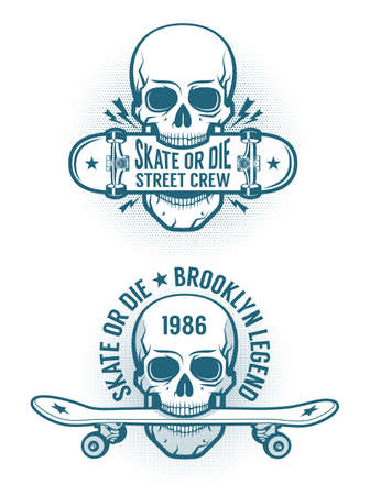 Skater emblem tattoo with skull holding skateboard in the teeth. Old-school retro style. Illustration