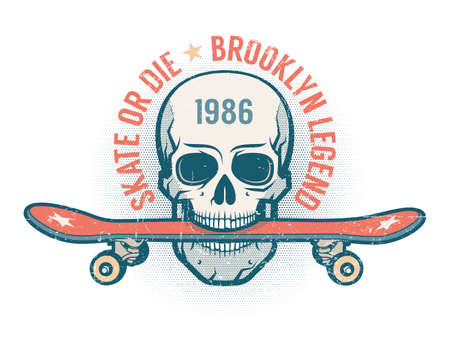 Skateboard and skull  retro emblem Illustration