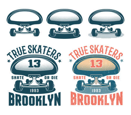 Authentic American retro emblem with skateboard Illustration