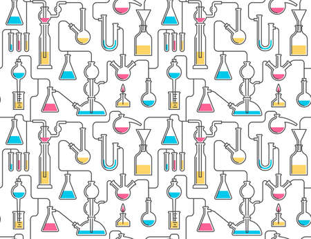 Seamless pattern from chemical glassware, flasks, reactions. Included in swatches panel. Stock Vector - 103270684