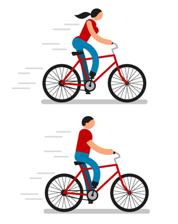 Color pictograms of men and women riding bicycles. Icon people. Illustration