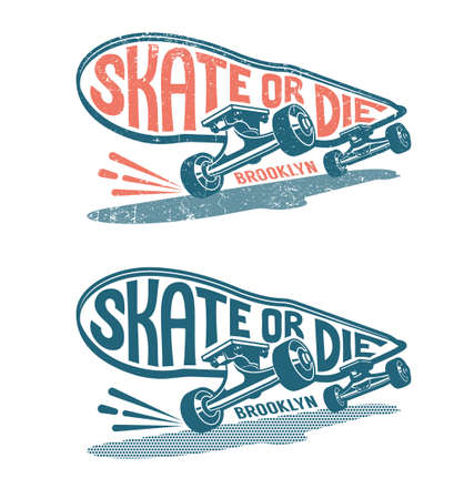 Skateboard in Motion with Lethering - Skate or Die.  Classic authentic print in stamp style.  Worn texture on a separate layer. Stock Vector - 103270686