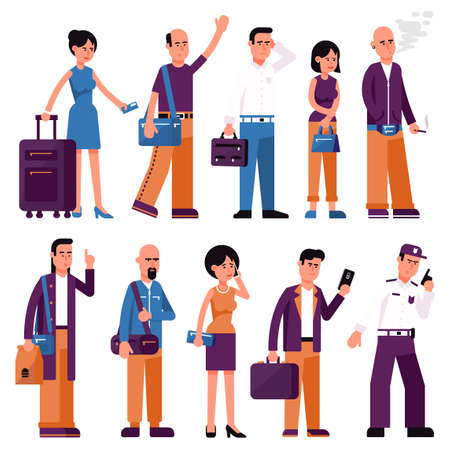 Set of people men and women with bags and suitcases in various poses. Flat style. Stock Vector - 113767167