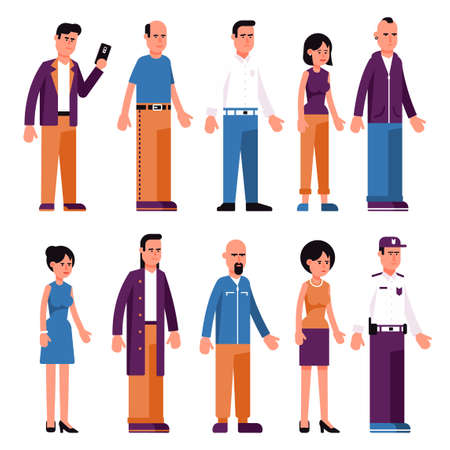 Set of men and women in different clothes in neutral poses. Flat style. Illustration