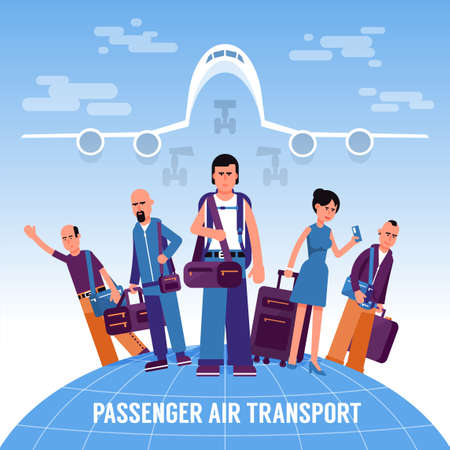 People travelers with luggage stand on the globe against the background of a take-off airliner. Flat style concept.