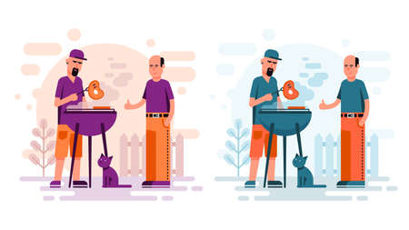 Two men cooking barbeque steaks in the yard. Flat cartoon style BBQ. Illustration