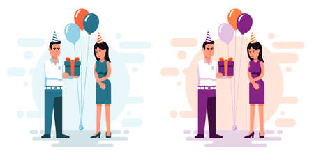 Man gives a gift to woman for her birthday -  flat style Stock Vector - 104170555