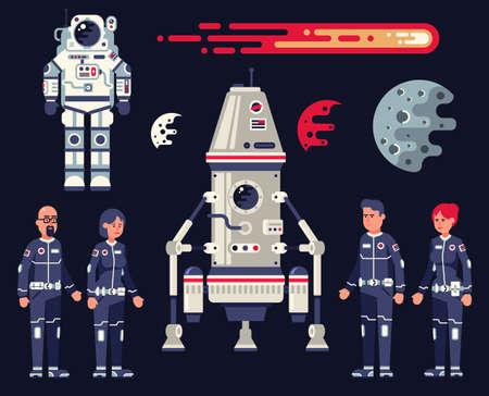 Spazio ambientato in stile piatto: modulo di atterraggio, astronave, tuta spaziale, equipaggio di astronauti di uomini e donne, pianeti e comete.