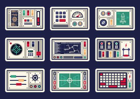 Diferentes paneles de control, consolas, botones y dispositivos, radar para naves espaciales.