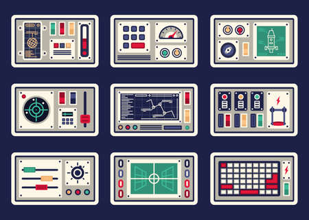 Different control panels, consoles, buttons and devices, radar for spacecraft Stock Illustratie