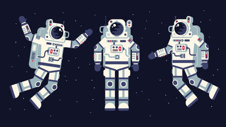 Space suit in different poses. Easy to edit. Flat style. Illustration
