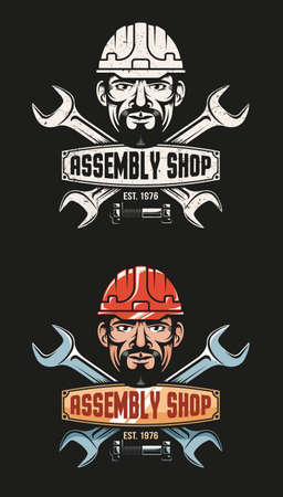 Vintage emblem of the workshop - crossed wrenches and a workers head in a hardhat. Grunge texture on a separate layer