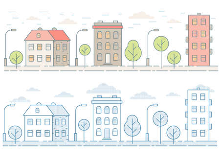 Colorato paesaggio urbano senza soluzione di continuità con case, alberi. Stile contorno minimalista.