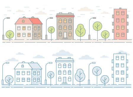 Paysage urbain sans couture coloré avec maisons, arbres. Style de contour minimaliste.