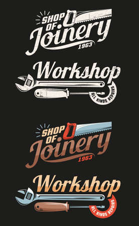 Retro emblems joinery carpentry and workshop with saw, adjustable wrench and screwdriver. Grunge worn texture on a separate layer Illustration