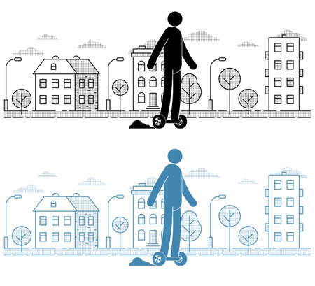 Icon man riding a hoverboard on  the urban landscape background. Pictogram People. Individual transport.