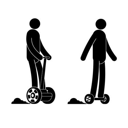 Pictogram  man riding  hoverboard. People icon. Individual transport.