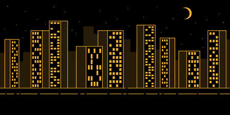 Simple urban night landscape with skyscrapers - contour pattern with dotted halftones Illustration