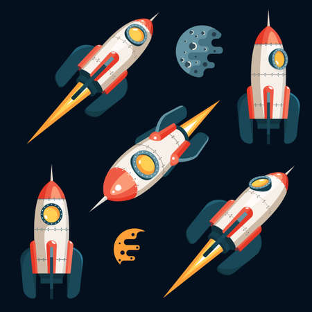 Space Rocket in 3d cartoon style - set from several angles. Black background. Vector illustration.