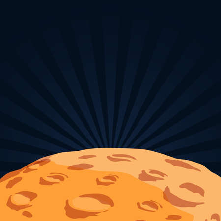 superficie del planeta con cráteres que se cruzan a la luna en estilo de dibujos animados Ilustración de vector