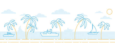 A simple minimalistic seascape with palm trees by the sea and ships Stock Vector - 106053407