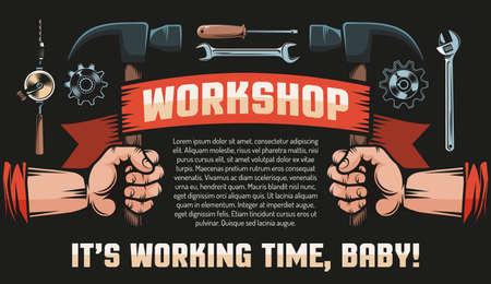 Workshop DIY Vintage Retro Poster - Hände mit Hämmern, Wappen, Werkzeugen und Inschriften. Schwarzer Hintergrund. Vektorgrafik