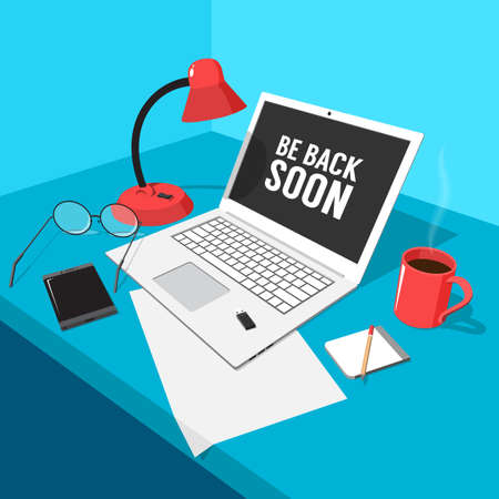 The workplace of the freelancer is a laptop, glasses, a lamp, a mug and more. 3d vector color illustration. Illustration