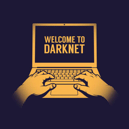 Hands of a hacker entering a darknet on a laptop. Vintage style.