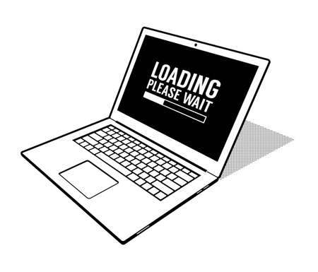 Abstract laptop is loading - 3d vector illustration in retro style print