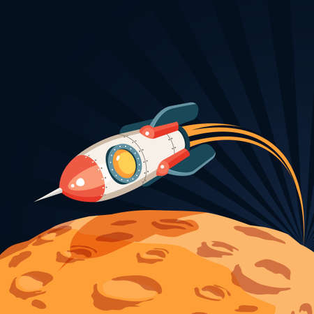 Space rocket flies over the surface of the planet like a moon. Illustration