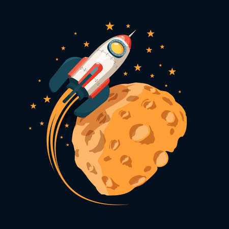 Rocket in space orbits  planet like the moon. Color cartoon illustration. Stock Vector - 107345485