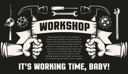 Repair workshop with hands and working tools - hammers,  spanner,  screwdriver. Black background, retro style. Illustration