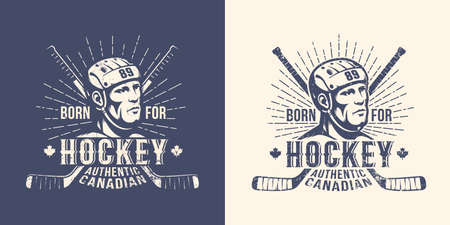 Hockey retro vintage logo with player head and crossed sticks. Versions for light and dark background. Stamp style. Worn grunge texture on a separate layer.