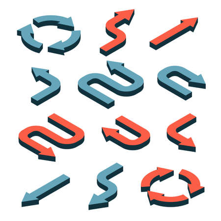 Set of Isometric 3d arrows in different directions with bends and curves.