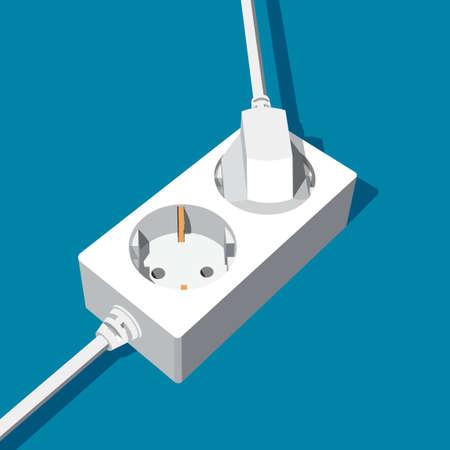 Toma de corriente de extensión abstracta con dos entradas - con enchufe eléctrico y vacío. Ilustración de vector 3D. Ilustración de vector