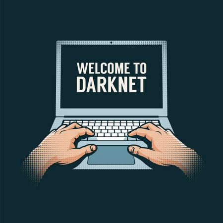 Hands out of the dark on a laptop. Hacker retro illustration. Illustration
