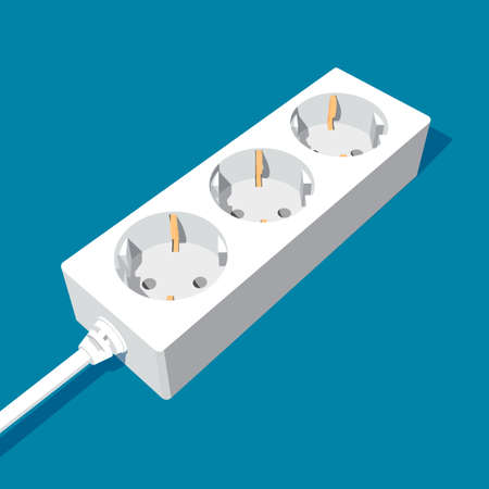 3d abstract extension power socket with three inputs - vector clipart