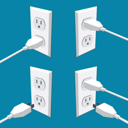 Four american abstract wall outlets with two inputs and plugs - vector clipart Illustration