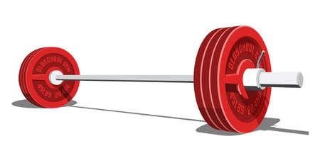 Barra para levantamiento de pesas, culturismo, levantamiento de pesas. Ilustración 3d de vector realista.