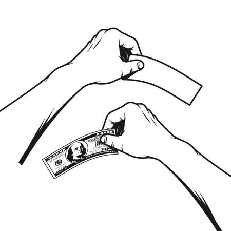 The hand holds a hundred dollar banknote and an empty flyer. Black-and-white illustration in stamp style.