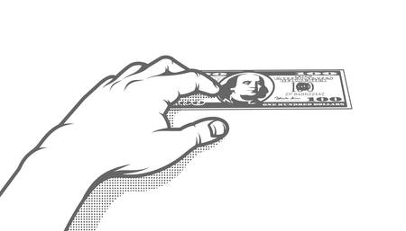 The hand presses a hundred-dollar bill to the table. Retro pop art vector black and white illustration.