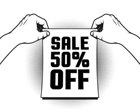 Hands holding a poster about the sale and discount. Black and white vector retro illustration. Illustration