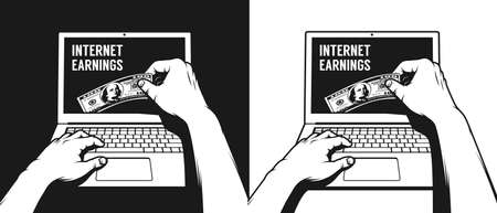 A hand working on a laptop takes out a hundred dollar bill from the monitor. Internet earnings retro illustration. Illustration