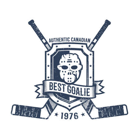 Hockey goalkeeper retro logo - goalie mask, heraldic shield and crossed sticks. Grunge worn texture on a separate layer. Stock Vector - 107990897