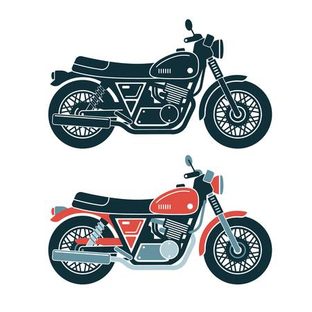 A classic retro motorcycle. Stamp style. Colored and monochrome vector illustration. Stock Vector - 110160609